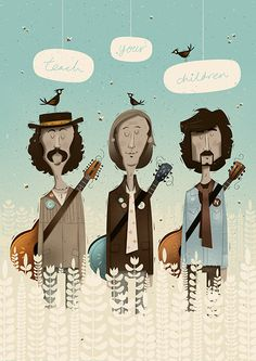#illustration #beard #teach #farm #guitar #grain Teach Your Children by Peter Donnelly