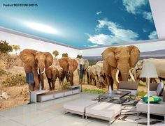 3D Elephant Africa Grassland Wall Murals Wallpaper Decals Art Print IDCQW-000315