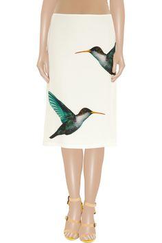 Lapis hummingbird-print satin-twill skirt by Jil Sander