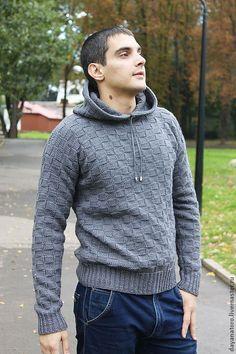Купить Свитер мужской ДИ КАПРИО Скидка - серый, однотонный, свитер вязаный, свитера