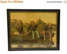10% OFF Antique Fishing Print. 1800s French Art Print. Gift For Fisherman. Antique Lithograph Print in Frame. by LeBonheurDuJour on Etsy https://www.etsy.com/listing/470923734/10-off-antique-fishing-print-1800s