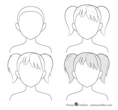 How to Draw Anime and Manga Hair - Female - AnimeOutline Anime Drawings Sketches, Pencil Art Drawings, Anime Sketch, Kawaii Drawings, Easy Drawings, Anime Character Drawing, Manga Drawing, Drawing Hair Tutorial, Manga Hair