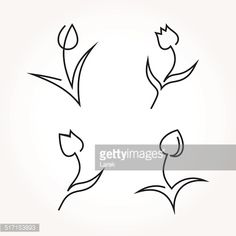 tulip line drawing abstract - Google Search