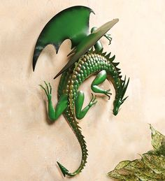 "Climbing Green Dragon Metal Wall Art... New item at Wind & Weather...28-1/4""L x 10-1/4""W x 26-1/4""H"