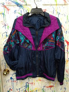 Vintage 80's windbreaker jogging swish zip up jacket for both men and women size Medium /Large blue purple red bohemian motif by RagsAGoGo, $28.00