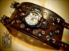 Leather cuff watch Post Apoc wide studded made in by mataradesign, $425.00