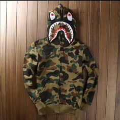 Men's Bape Shark Hoodie Sz S-3XL High quality Men's full zipper bape shark hoodie camouflage Army Military fleece hoodies and sweatshirts winter mens camo jacket Tops Sweatshirts & Hoodies