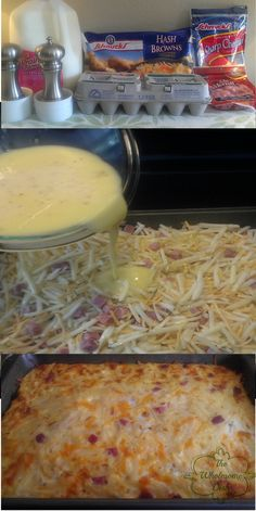 Easy Breakfast Casserole 24 oz. hash browns 16 oz. cubed ham 8 oz. sharp cheddar cheese 12 lg. eggs 1 c. skim milk ½ tsp salt ¼ tsp black pepper Instructions Add potatoes, ham,cheese to a large bowl. Toss to combine. Pour into a 9 x 13 baking dish sprayed with cooking spray Iarge bowl, whisk eggs with milk, salt, pepper Pour egg mixture over hash brown mixture. Pat everything down with back of wooden spoon.Bake 350 degree oven for 1 hour. center should be set edges should be golden brown.