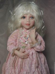 Купить Эля - бледно-розовый, кукла девочка, кукла под винтаж, авторская кукла