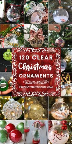 HOLIDAY CRAFTS: 120 DIY Clear Glass Christmas Ornaments - Add a personal touch to your Christmas ornaments this year with these creative and festive ideas for filling and decorating clear glass Christmas ornaments. Clear Christmas Ornaments, Clear Glass Ornaments, Glass Christmas Decorations, Christmas Ornaments To Make, Christmas Projects, Handmade Christmas, Holiday Crafts, Christmas Crafts, Ornaments Ideas