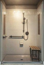 Trendy Bathroom Shower Remodel Walk In Living Rooms Ideas Ada Bathroom, Bathroom Shower Doors, Handicap Bathroom, Bathroom Plans, Bathroom Wall Decor, Small Bathroom, Bathroom Ideas, Shower Ideas, Disabled Bathroom