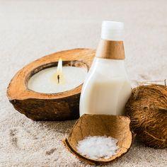 Kokosöl Kosmetik selber machen - Rezept für selbst gemachte Kokosöl Lotion gegen Sonnenbrand mit nur 4 Zutaten - spendet gereizter Haut schnell Ruhe und Feuchtigkeit ...