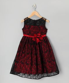 Take a look at this Black & Red Lace Dress - Toddler & Girls on zulily today!