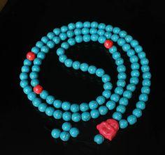 108 Turquoise Red Blue Ball & Pink Buddha Beads Buddhist Mala Necklace 64