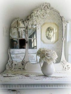 love white pitchers, mirrors, chandys, furniture - timeless & romantic