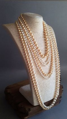 Engagement & Wedding Classic Style 6mm White Glass Pearl Necklace With Gold Plated Box Three Strand Jewelry & Watches