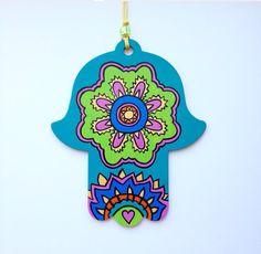 Hamsa Wall Art  Mehndi Henna Inspired Design  by LeaJoelleHandmade