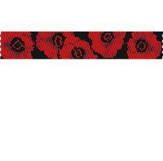 2 Drop Peyote Stitch Bracelet Pattern - Red Poppies - Red Poppy Bracelet