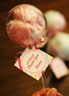 Sweet Cotton Candy Party Favor - A perfect addition to any carnival themed party or even a Sweet 16, these party favors add a new spin on cotton candy! www.partylolli.com