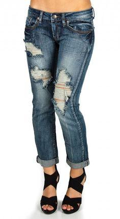 Machine Jeans Vintage Destroyed Capri Jeans - Medium Wash