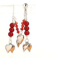 Hearts-earrings-charms-red-crystals-red-beads-clip-or-pierced-handmade-by-Pat2