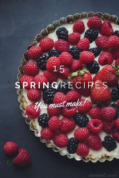 15 Spring Recipes You Must Make Fruit Recipes, Snack Recipes, Dessert Recipes, Easy Desserts, Delicious Desserts, Yummy Snacks, Yummy Food, Tasty Bites, Spring Recipes