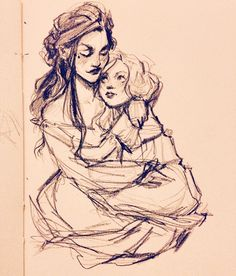 aelinscourt:  meabhd:  Quick lil sketch of Lysandra and Evangeline because they make my little heart sing…   Ahhhh, i wish more people did stuff with them