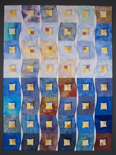 WINTER, an art quilt by Lisa Jenni   Think-Quilts.  Inspired by the painting 'Haus in Wintersonne' by Gabriele Münter (Blauer Reiter, 1909)