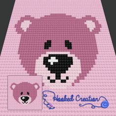 Baby Bear Baby Blanket can be easily customized with colors of your choice so it's perfect for the baby boy or girl in your life. Crochet Afgans, C2c Crochet, Crochet Bear, Baby Afghan Patterns, Baby Afghans, Crochet Blanket Patterns, Pixel Crochet Blanket, Baby Blanket Crochet, Crochet Blankets