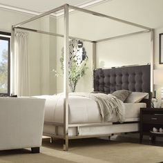 Upholstered Canopy Bed & Reviews | Birch Lane