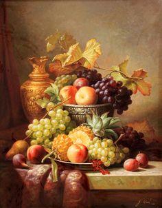 pintura al óleo clásica piña manzana uva envío libre aún impresiones de lienzo fruta de la vida de decoración de la pared del arte de la lona de imagen (China (continental))