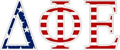 "Delta Phi Epsilon American Flag Greek Letter Sticker - 2.5"" Tall from GreekGear.com"