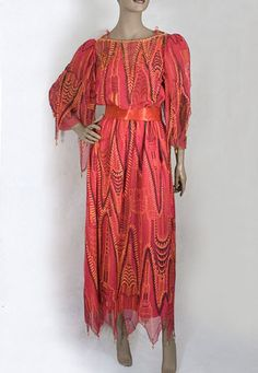 """Zandra Rhodes beaded chiffon dress, c.1984 from the 1984 """"Manhattan"""" collection. From the Vintage Textile archives."""