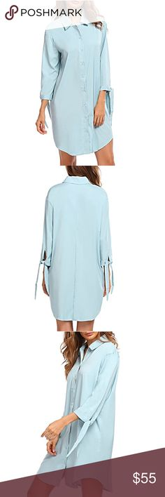 🆕 Light Blue Simply Sexy Collared Shirt Dress NWOT. This minimalistic shirt dress is effortlessly sexy and features a beautiful light blue shade. The sleeves have a fun, unexpected tie detail to give it some extra character. 100% polyester. Buttons up the front. Dresses