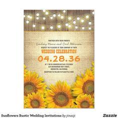 Sunflowers Rustic Wedding Invitations