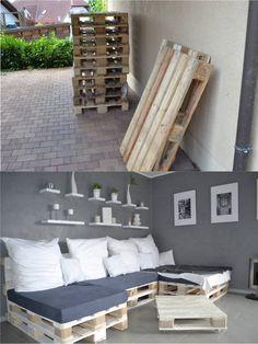 DIY Pallet Sofa Bed - selfio.de -Sofá cama con palés