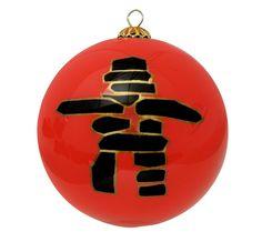 Inukshuk Glass Ornament - Red