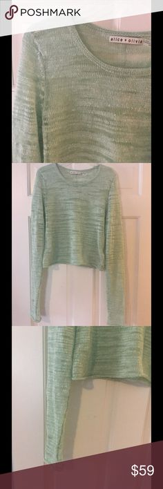 "Alice + Olivia ltwt sheer cropped pullover mint The pictures of the sleeves best display the mint green color of this cute cropped cardigan. Linen/polyamide. Underarm across 18"". Length 19"". Excellent condition. EUC. Alice + Olivia Sweaters Crew & Scoop Necks"