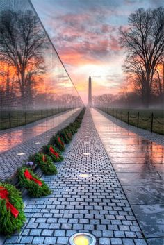 Vietnam Veterans Memorial at Sunrise ~ Washington Monument in the background, Washington DC. I was privileged enough to go with my father, a Vietnam vet, to the monument in A beautiful memory. Dc Travel, Places To Travel, Places To See, Laos, Vietnam Veterans Memorial, Destination Voyage, Vietnam War, Vietnam History, The Good Place