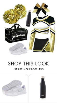 """""""Gold School Cheer Uniform"""" by krazy-kitten ❤ liked on Polyvore featuring NIKE and S'well"""