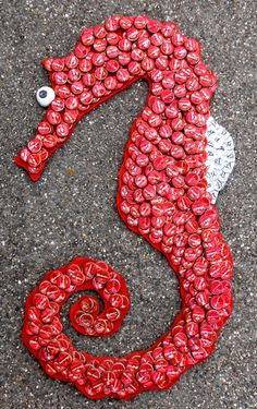 BEER BOTTLE CAP SEAHORSE by George Borum