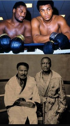 Joe Frazier and Muhammad Ali. [January 1942 – June ❥ A true Champ & A true Legend ! RIP* The Real Greatest Man Karate, Black History Facts, Black History Month, Mike Tyson, Sports Illustrated, Boxe Fight, Combat Boxe, Photo Star, Boxing History