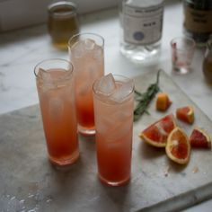 Blood orange and gin drinks