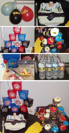 Ninjago birthday party items based on ideas collected from previous Pins. Everything came together really nice and made good use out of full sheet sticker paper for the graphics on the water bottles, balloons, favor boxes and labels for the Lego candy I found at the mall. For the cupcakes I used the edible Wilton sugar paper for the first time. Was happy with how they came out.