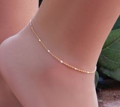 Ankle Bracelet Simple Chain Anklet Shiny Bar by SimpleAndLayered