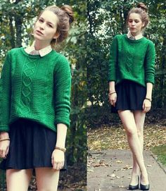 Knit & collard shirt