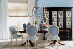 Ethan Allen Blue Dining Rooms.
