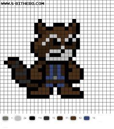 Rocket 8-Bit GotG Vol 2 Perler Bead Pattern Perler Beads, Perler Bead Art, Fuse Beads, Perler Bead Templates, Pearler Bead Patterns, Plastic Canvas Stitches, Plastic Canvas Patterns, Pixel Crochet, 8 Bits