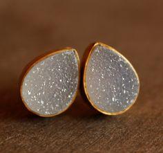 Gold Druzy Studs - Teardrop Post Earrings - Geode Studs, AAA Quality. $55.00, via Etsy.