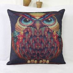 6.84$  Watch now - http://dipet.justgood.pw/go.php?t=153774301 - Fashion  Linen Owl Pattern Square Decorative Pillowcase(Without Pillow Inner)